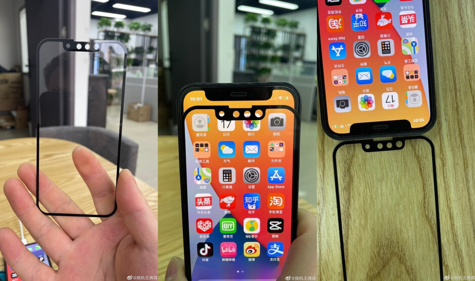 Glass panels allegedly for the iPhone 13 series shows a smaller notch - Photographic evidence allegedly shows smaller notch for this year's 5G iPhone series